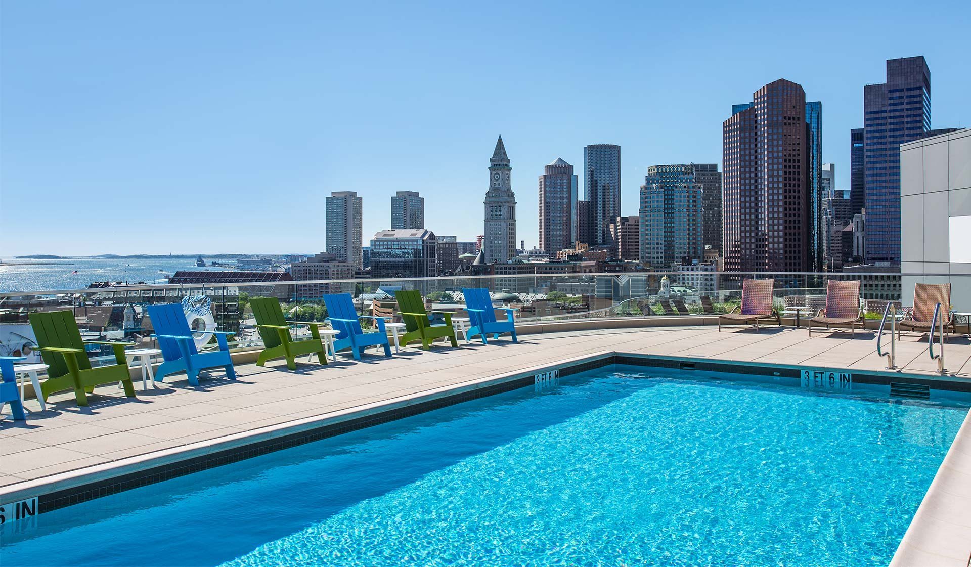 One Canal Apartment Homes - Boston, MA - Pool and City Skyline View